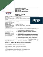 Work sheet WIM Aviation AIRCRAFT ELECTRICAL SERVICING