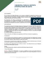 Codigo Municipal Para El Distrito Metropolitano de Quito 2016}