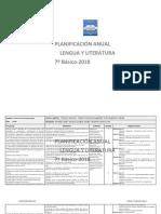 Planificacion Anual Lengua y Literatura 7Basico 2018