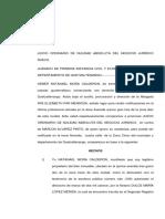 Juicio Ordinario de Nulidad Absoluta Del Negocio Jurídico