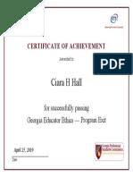 ethics exit certificate