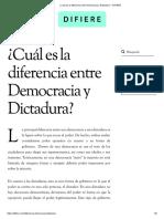 ¿Cuál Es La Diferencia Entre Democracia y Dictadura_ - DIFIERE