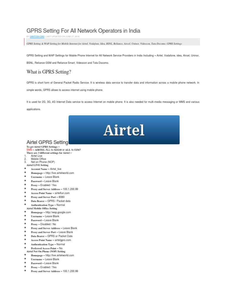 GPRS Setting for All Network Operators in India | General