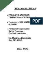 Certificacin de Calidad de Producto