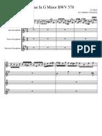Fugue in G Minor BWV 578 for Saxophone Quartet