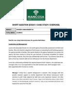 Generic - Business Management 2A Short Essay
