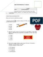 Prueba de Matematica 4 º Basico Problemas