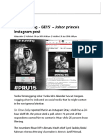 'I Am Running - GE15' – Johor Prince's Instagram Post