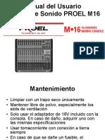Manual Consola Proel M16