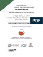 Segunda Circular - III Congreso Latinoamericano de Teoría Social Buenos Aires - 31 de julio al 2 de agosto de 2019 - Buenos Aires, Argentina