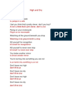 High and Dry letra.docx