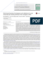 Work Based Learning Development and Validation of a Scale Measuring the Learning Potential of the Workplace LPW 2014 Journal of Vocational Behavior