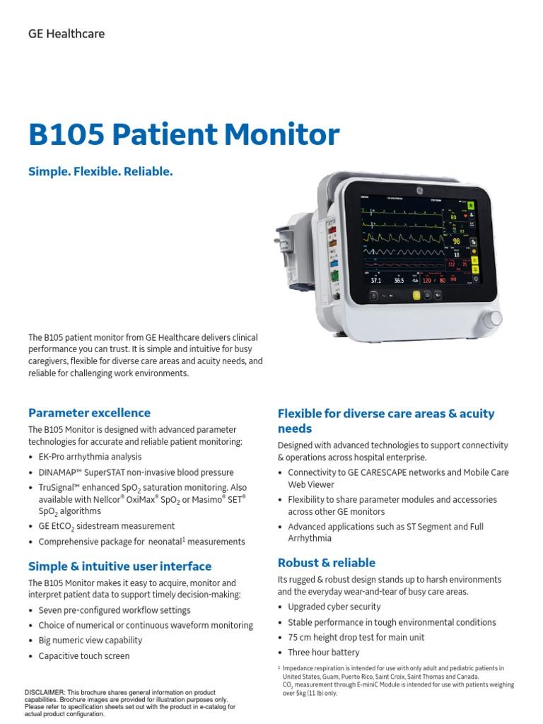 Brosur B105 GE | Blood Pressure | Electrocardiography