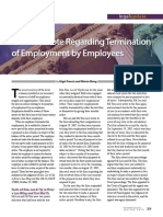 Note Regarding Termination of Employment by Employees