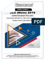JEE Main 2019 Paper 2 B.Arch Attempt Shift - 2(07th April, 2019)