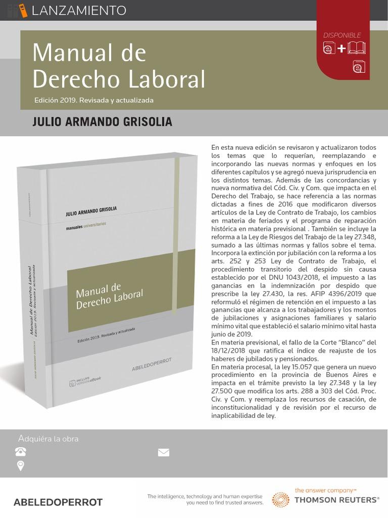 descargar manual de derecho laboral grisolia pdf