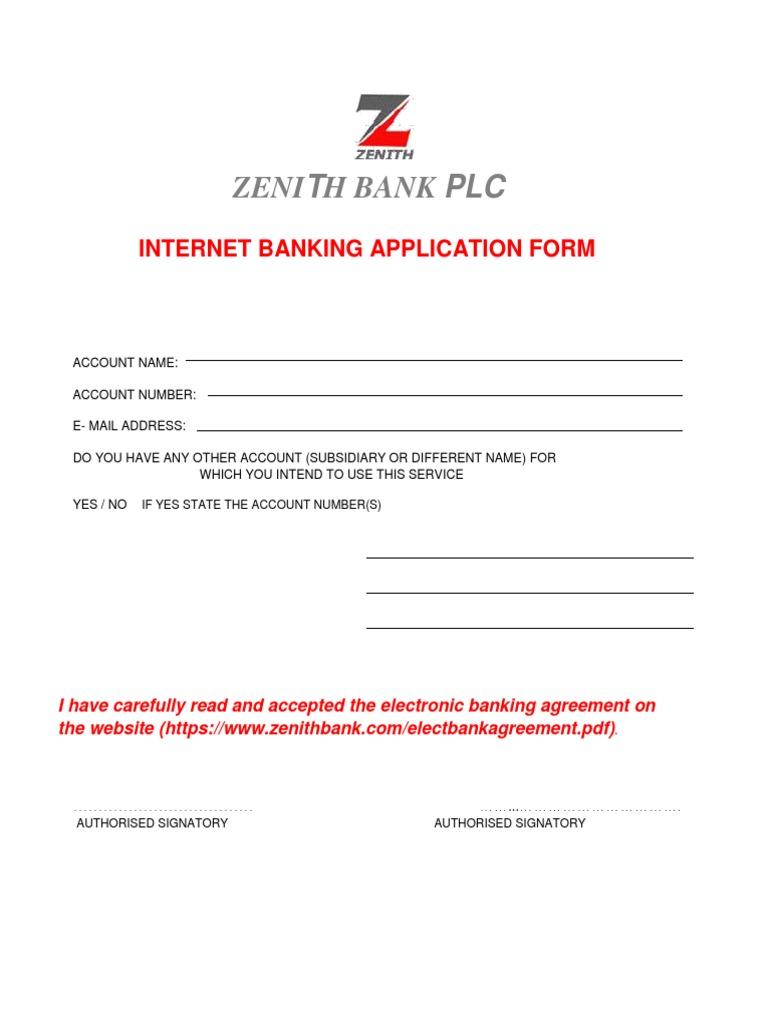 Internet Banking Form Zenith Bank Nigeria