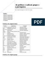 Lista de Prefixos e Radicais Gregos e Latinos Na Língua Portuguesa