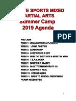 2019 Martial Arts Sports Summer Camp Agenda PDF