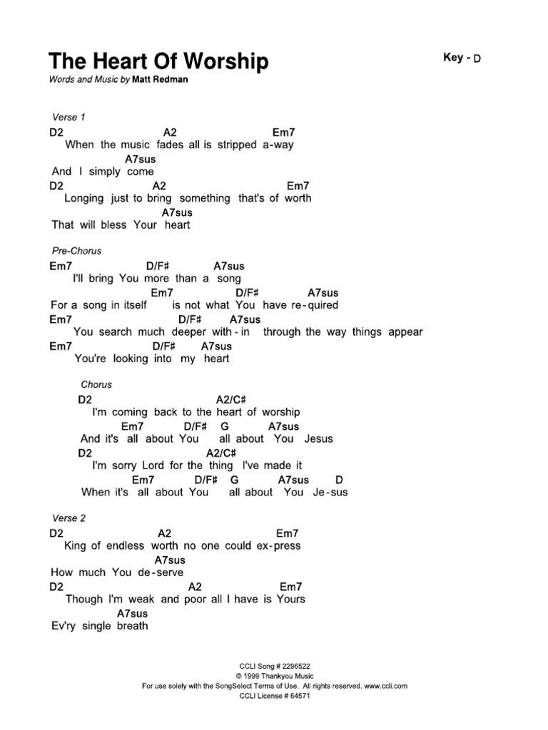 The Heart of Worship   CHORD SHEET   Key D PDF