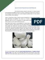 High Quality Quartz Powder Manufacturers RCM Minerals