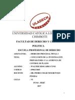 Conclusión de La Investigación Preparatoria y La Audiencia de Control de Plazos