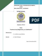 Resumen Fuentes de Las Obligaciones y Su Clasificacion