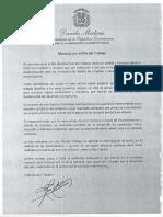Mensaje del presidente Danilo Medina en ocasión del Día Internacional del Trabajo 2019