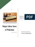 Major Labor laws of Pakistan