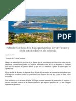 Pobladores de Islas de La Bahía Piden Revisar Ley de Turismo y Abolir Artículos Lesivos a La Soberanía
