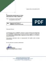 La confirmación de la suspensión del partido de Argentinos Jrs en Venezuela