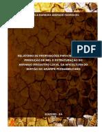 Relatório de proposições para retomada da produção de mel e estruturação do arranjo produtivo local da apicultura do Sertão do Araripe Pernambucano.