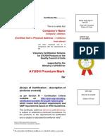 AYUSHScheme PremiumMark Certifcate Format