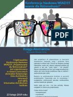 """I Ogólnopolska Konferencja Naukowa WIAD19 """"Projektowanie dla Różnorodności""""  - Księga Abstraktów"""