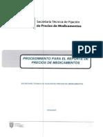 Procedimiento Para El Reporte de Precios de Medicamentos 2019