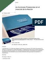 Acciones Posesorias en El Código Civil y Comercial de La Nación