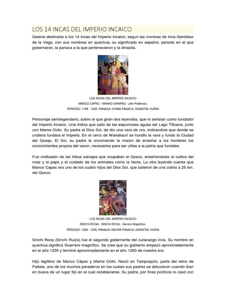 Los 14 Incas Del Imperio Incaico Imperio Inca