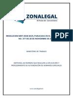 2018 Resolucion Mdt 2018 0219 Emitense Las Normas Que Regulan La Aplicacion y Procedimiento de Autorizacion de Horaios Especiales