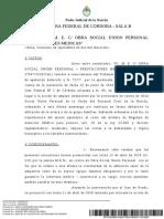 Fallo n., m. e. c Obra Social Union Personal