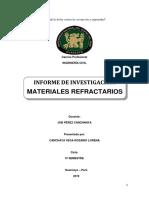Informe de investigación sobre Materiales Refractarios