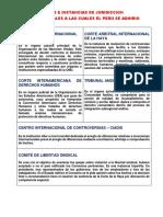 Cortes e Instancias de Jurídicas internacionales a las cuales el Perú se Adhirió