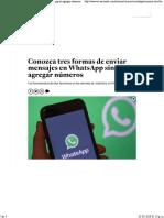 Conozca Tres Formas de Enviar Mensajes en WhatsApp Sin Agregar Números