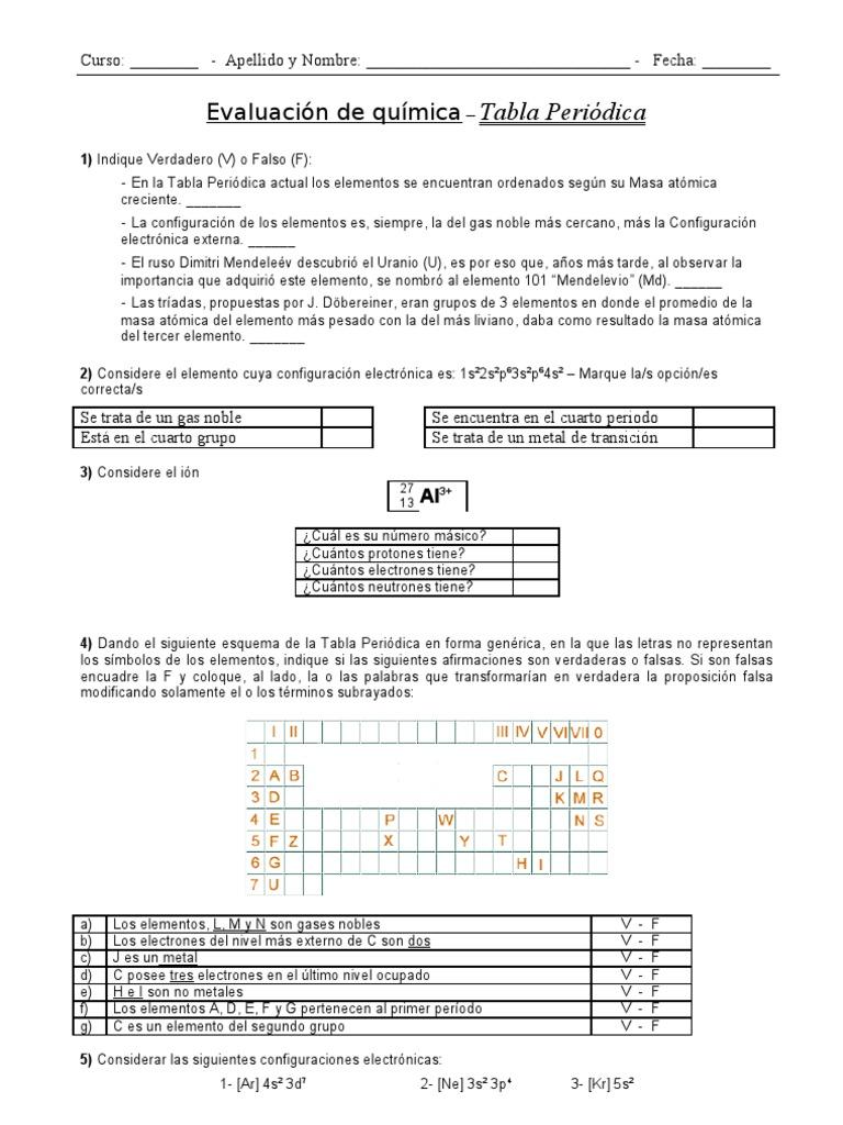 Evaluacin tabla peridica soluciones urtaz Images