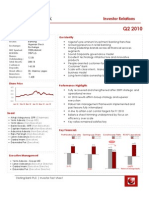 Sterling Bank PLC Investor Q2 2010 Factsheet