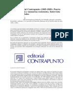 Editorial Contrapunto (1985-1989)-Puerto de Mar, Edición y Memorias Resistentes. Entrevista Con Graciela Daleo