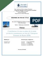 Contribution à La Mise en Place de La Totale Productive Maintenance Au Sein de l'Entreprise Portuaire de Bejaïa (EPB)