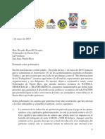 Carta Al Gobernador, 1ro de Mayo 2019