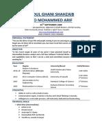 Abdul Ghani Shahzaib CV 2019