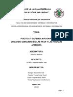Tema 3-Politica y Defensa Nacional- Comando de Las Ffaa y Las Fuerzas Armadas