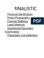 Criminal Law And    Jurisprudence, Law enforcement Administration, Criminalistic.docx